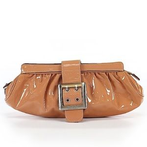 Tan patent leather clutch purse